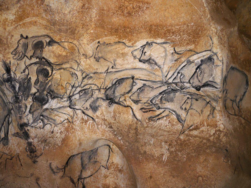 Réplique du panneau des lionnes visible à la caverne du Pont D'Arc, Ardèche.